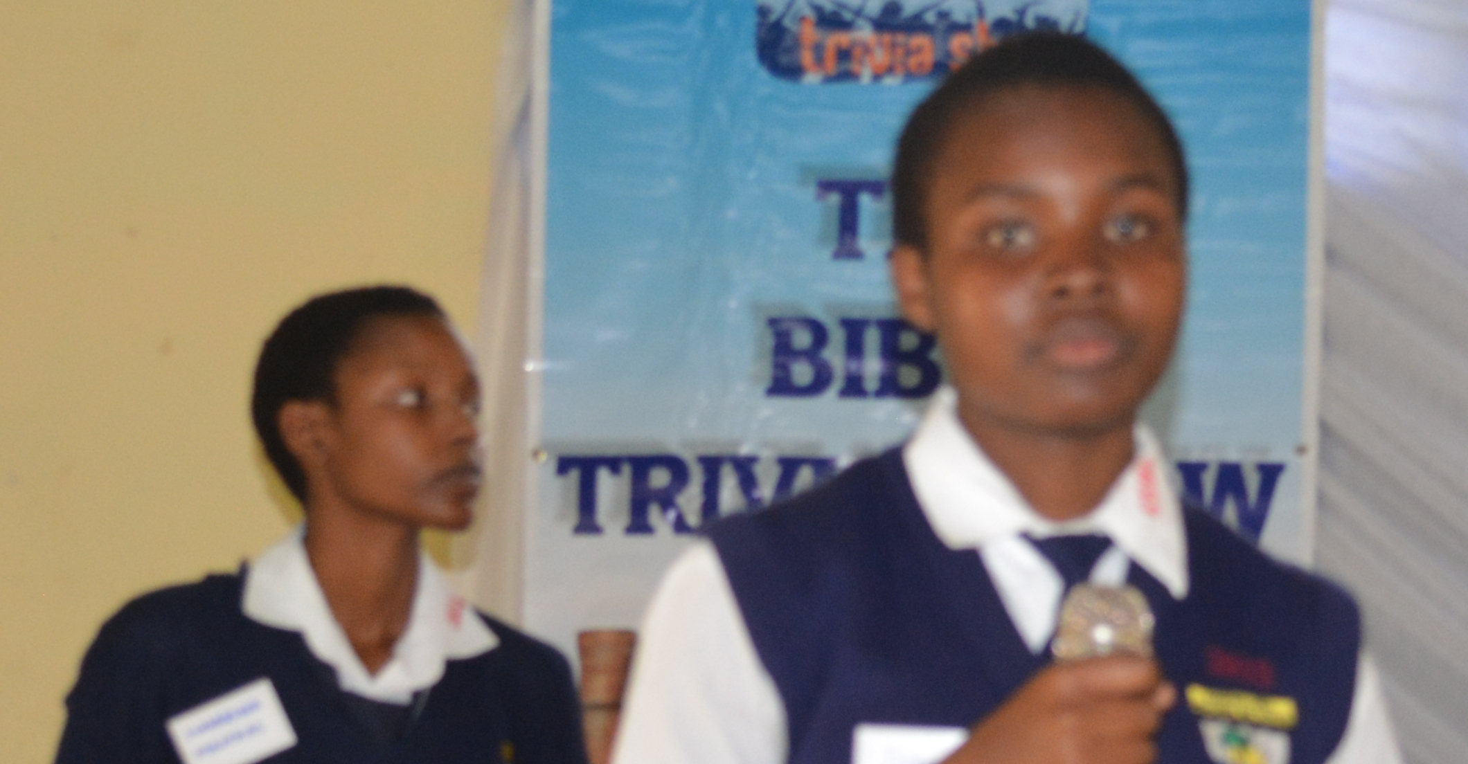 one of the participants addressing the students during the bible trivia show in kwale county