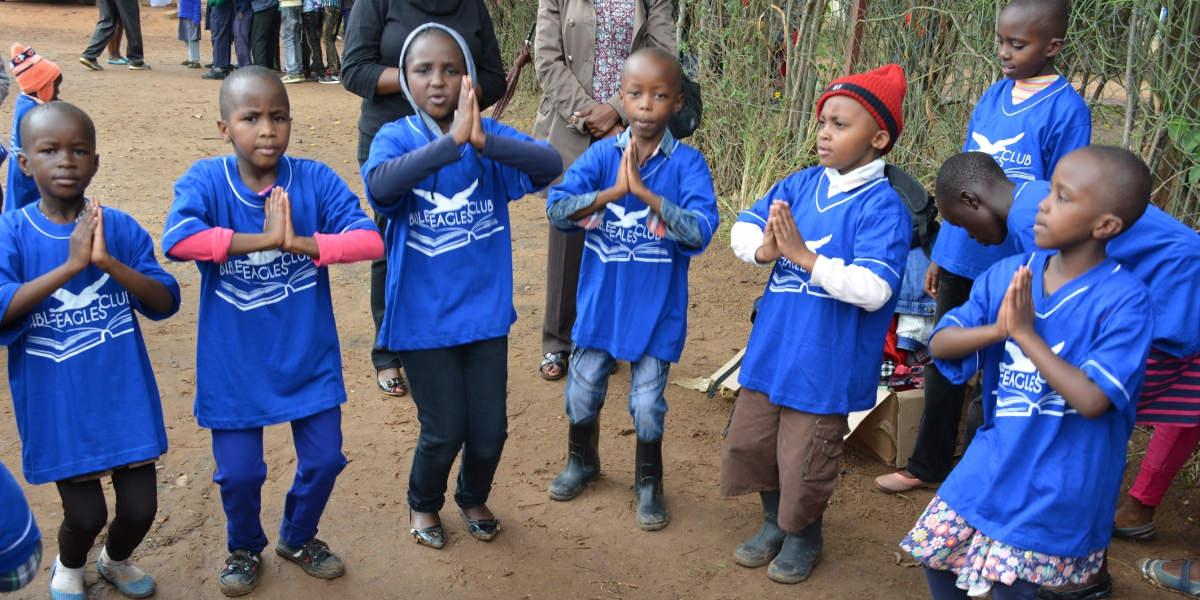 Children entertaining themselves through dance during Bible Eagles Club Fun Day event on Saturday November 5th 2016 at St. Mary's Boys Primary School in Machakos County